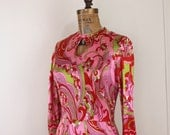 1970s pink + red paisley maxi dress - psychedelic, pucci-esque, mod, hippie, Moroccan Princess, boho - size small
