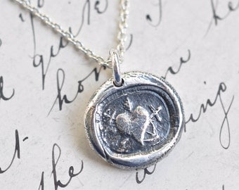 heart, cross anchor wax seal necklace … faith hope charity - silver artisan pendant - antique Russian wax seal jewelry
