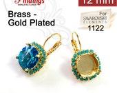 2pcs x Round 12mm Bezel Earrings Setting on Lever back Gold Plated w/ Turquoise Rhinestone. Fit Swarovski Rivoli 1122 (LBRD12TRSGP)