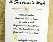 A Survivor's Wish. The Wish Bracelet for Bone or Bladder Cancer Awareness. Yellow Ribbon Edition.