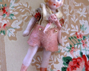 RESERVED Antique German Dollhouse Bisque Flapper Doll in Original Dress