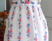 Semi-Sheer Vintage White Apron with Blue Accents