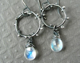 Rainbow Moonstone Earings in Oxidized Silver - Rainbow Moonstone Earrings Hoop Dangle Earrings - Blue Moonstone - Moon Stone