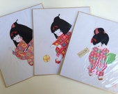 Vintage Art Japan Set of Three Matted Art Home Decor Accessories Geisha Girls Collage Kawaii Style Mixed Media