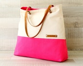 Neon Canvas Tote Bag, EXPRESS SHIPPING - Large tote, travel tote, color block bag, neon pink, cream, leather, oversized bag, diaper bag