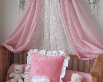 Aqua Pink Padded Upholstered girls bed canopy for crib or twin full Embroidered FREE