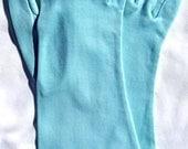 Vintage Cotton Wrist Gloves Long AQUA BLUE Small