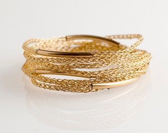 BOHO bracelet, Gold wrap bracelet, Women wrap bracelet, Layering bracelet, Gold bracelet, Friendship bracelet , Gold beaded bracelet