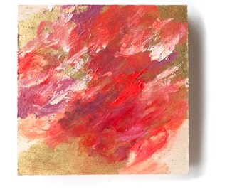 Original Square Modern Tiny Painting Abstract Expressionist Pink Red Violet w/ Gold Leaf by Contemporary Brooklyn artist Christina Batch-Lee