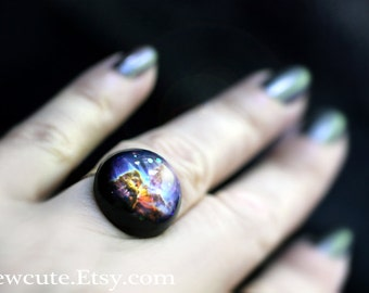 Galaxy Ring, Space Jewelry, Mystic Mountain, Out of this World Fashion Statement Glitter Hubble Image, Modern Resin Galaxy Jewelry, isewcute