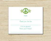 Peace Sign Thank You Note Cards -  10 Kids Fill-In Thank You Note Cards with envelopes