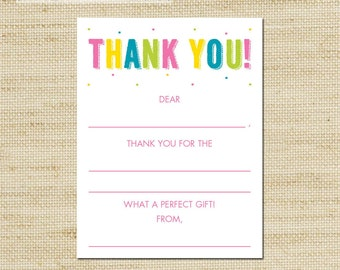 Birthday Thank You Card - Girls Rainbow Birthday - 10 kids fill in the blank thank you cards and matching envelopes