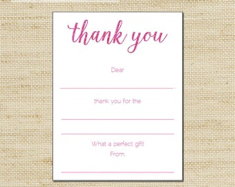 Glitter Thank You Cards - Girls Pink Glitter Birthday Thank You Cards - 10 kids fill in the blank thank you cards and matching envelopes