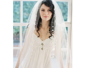 Silk tulle French net lily of valley bridal veil no. 2074