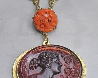 Victorian Cameo and Victorian Coral Necklace