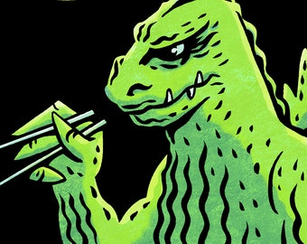 """Godzilla """"Crunchy Roll"""" - Postcard - 5x7"""