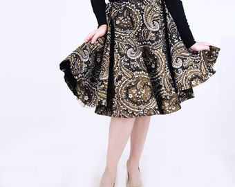 50s Black & Gold Paisley Print Taffeta Circle Skirt with Attached Crinoline 24""