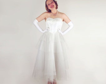 50s White Tulle, Taffeta and Lace Strapless Frothy Dress XS