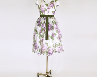 50s Lavender and Green Rose Print Full Skirted Party Dress with Green Bow XS
