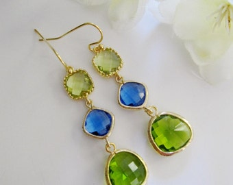 Blue Long Earrings, Apple Green, Glass Earrings, Gold Framed Dangle Drops, Bridesmaid Gifts, Wedding Jewelry