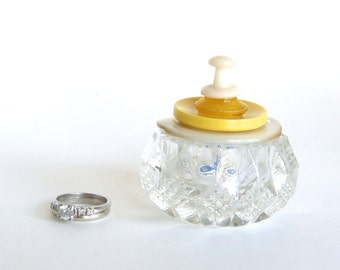 Salt Cellar Ring Box with Yellow Vintage Button Lid