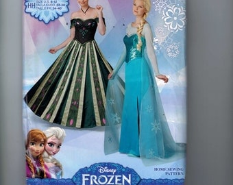Misses Costume Sewing Pattern Simplicity S0746 Frozen Elsa Anna Disney Princess Size 6-12 or 14-22 Bust 36 38 40 42 44 UNCUT
