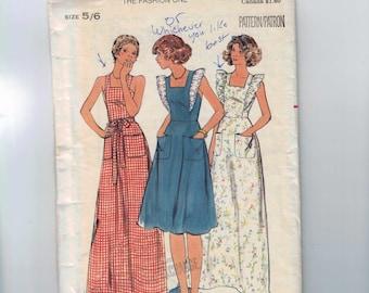 1970s Vintage Sewing Pattern Butterick 4837 Junior Misses Jumper Dress Belt Sundress Size 5 6 Breast Bust 28 70s UNCUT  99