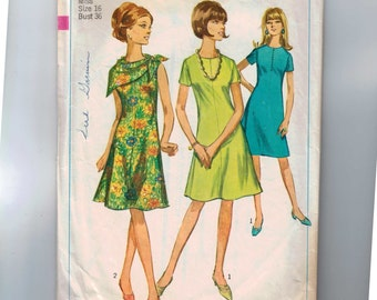 1960s Vintage Sewing Pattern Simplicity 6917 Misses One Piece Flared Shift Dress Size 16 Bust 36 60s 1966