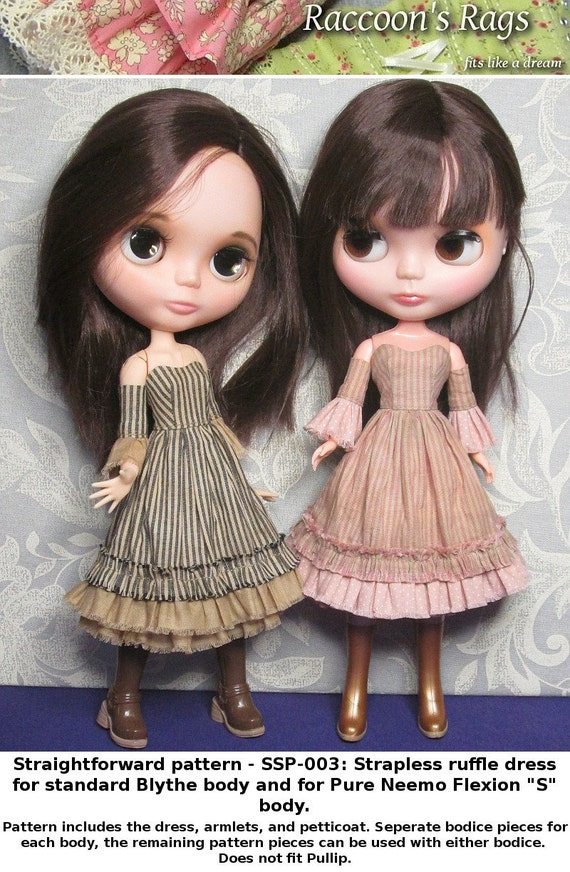 STRAIGHTFORWARD SEWING Pattern- SSP-003: Strapless dress with armlets & petticoat for Blythe, and Pure Neemo Flexion S.