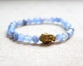 Light Blue Beaded Aquamarine Gemstone Gold Buddha Stretch Bracelet