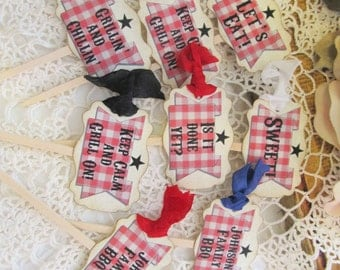 Barbeque BBQ Cupcake Toppers Picks with ribbons - Set of 18 - Choose Ribbons - Family Picnic BBQ Backyard Party Family Reunion