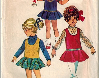 Vintage 60's Sewing Pattern, Girl's Jumper and Blouse, Easter Church Outift, Size 1, Summer Play Clothes, Toddler Girl, Baby Girl