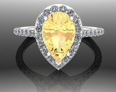 Yellow Garnet Ring with Diamond Halo and Yellow Diamond Accents - Pear or Teardrop Shape