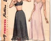 "Vintage Sewing Pattern Beautiful 1940's Ladies Petticoat and Slip Simplicity 2693 32"" Waist - Free Pattern Grading E-book Included"