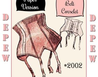 "Vintage Sewing Pattern French 1950's Pin Up Corset Garter Belt Pattern 25-35"" Waist Depew 2002- PAPER VERSION"