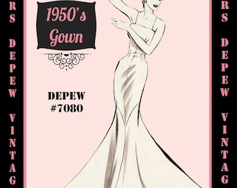 Vintage Sewing Pattern 1950's Evening Gown or Wedding Dress in Any Size - PLUS Size Included - Depew 7080 -INSTANT DOWNLOAD-