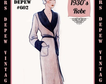 Vintage Sewing Pattern 1930's French Robe Pegnoir in Any Size Depew 602 - PLUS Size Included -INSTANT DOWNLOAD-