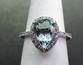 AAA Natural Aquamarine untreated Pear shape   10x7mm  1.74 Carats   14K White gold ring. B107 MMM