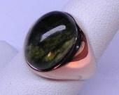 AAA Natural Untreated Moldavite   14x10mm  6.35 Carats   14K Rose gold ring 11 grams  Tektite 1979