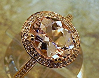 AAA Peach Morganite 2.10 Carats 10 X 8mm. in a 14k ROSE gold ring with diamonds (.32ct) Ring