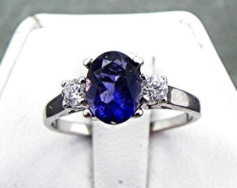 Iolite   8x6mm  0.94 Carats   with .14 cts of Diamonds 14K white gold ring 1062 C863 n