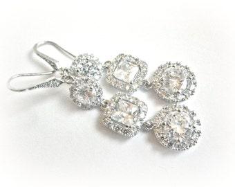 Long Wedding Earrings, Cubic Zirconia Bridal Earrings, Rhinestone Wedding Earrings, Round and Square cushion cut style lux bridal jewelry