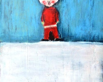 Acrylic Figure Painting. Original Mixed Media Collage Art. Boy in Elf Suit Painting. Winter Snow Print. Home Wall Decor