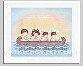 Children art decor - nursery art - baby boy art - Stronger - brown - dad - mom - two brothers -  twin boys - family - sailing - boat