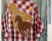 "Reserved for Kimberly! WEAR IT. red.neck Chic: hold yer horses! ""re.po'd"" 2XL pearl snap shirt / horses / pearlsnap shirt"