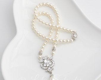 Bridal Necklace Pearl Wedding Necklace Swarovski Crystal Art Deco Style Vintage Wedding Jewelry CELESTE