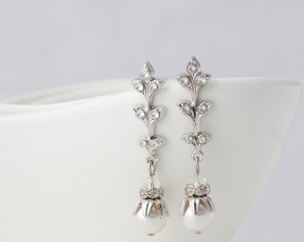 Art Deco Bridal Earrings Leaf Wedding Earrings Pearl Bridal Earrings Simple Vintage Wedding Jewelry NEVE