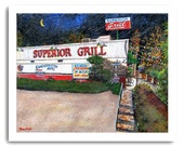 "Shreveport ""Superior Grill"" Restaurant Cafe Diner Bar Night Scene Art 11x14"" and 13x19"" Print Signed and Numbered Buy Any Two Get One Free"