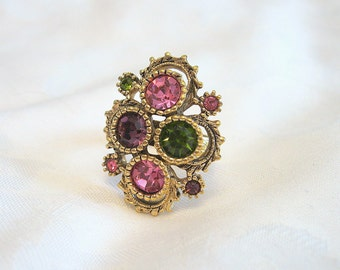 Vintage Sarah Coventry Ring Rhinestone Goldtone Adjustable
