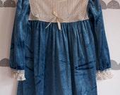 WINTER SALE! Vintage Girl's Holiday Christmas Crushed Velvet Dress